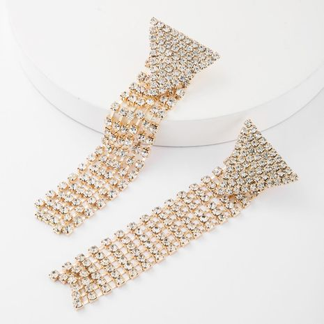 Women's inverted triangle alloy rhinestone long tassel earrings NHJE185817's discount tags
