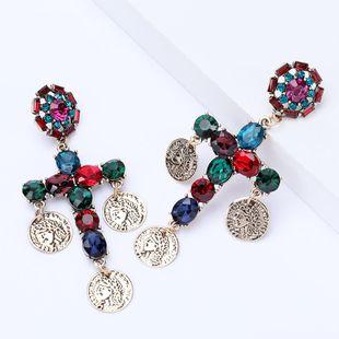 Round alloy Indian head portrait diamond cross earrings NHJE185818's discount tags