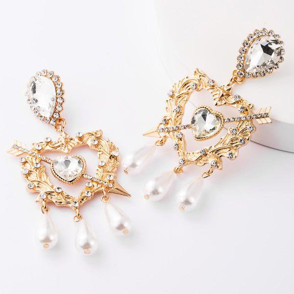 Rhinestone-like pearl tassel earrings NHJE185822