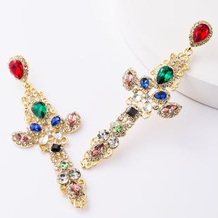 Personalized alloy diamond and rhinestone full diamond S925 silver needle cross earrings NHJE185827's discount tags
