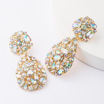 Aretes para mujer de diamantes de imitación geométricos personalizados de diamantes de aleación AB de diamantes geométricos de moda personalizados para mujeres NHJE185831