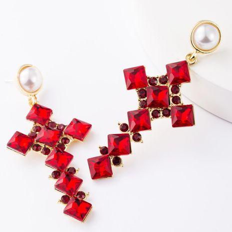 Alloy diamond square rhinestone cross S925 silver pin earrings for women NHJE185832's discount tags
