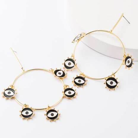 Personality ring alloy multilayer round oil drop eye earrings women NHJE185835's discount tags