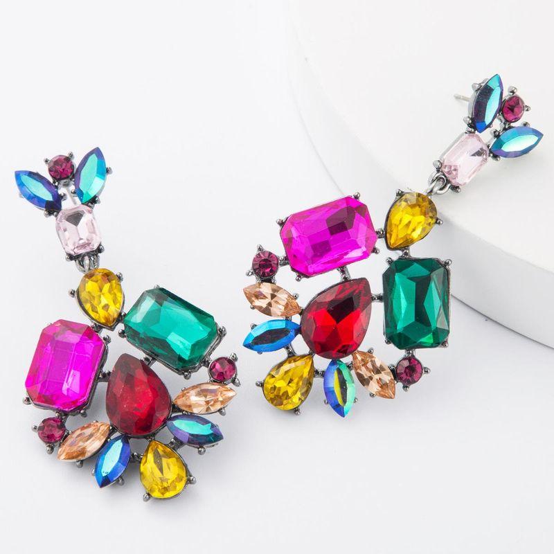 Fashion alloy diamond acrylic earrings female retro eye-catching full diamond earrings NHJE185836