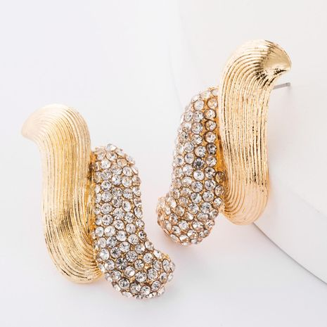 Double-layer S-shaped semi-alloy half-set diamond and rhinestone geometric retro earrings for women NHJE185837's discount tags