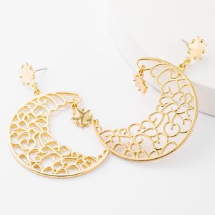 Earrings female alloy carved moon stars exaggerated wholesales fashion NHJE185838's discount tags