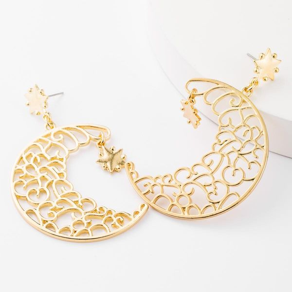 Earrings female alloy carved moon stars exaggerated wholesales fashion NHJE185838