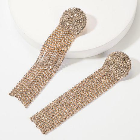 Fashion alloy diamond rhinestone long tassel earrings for women NHJE185840's discount tags