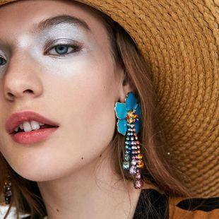 Floral dripping diamond tassel earrings women's fashion bohemian NHJE185842's discount tags