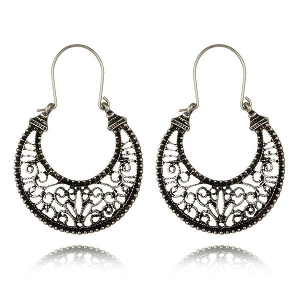 Vintage alloy moon skeleton Roman pattern earrings NHGY185792