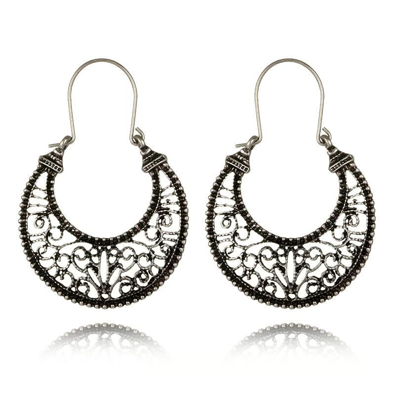 Vintage alloy moon skeleton Roman pattern earrings NHGY185792