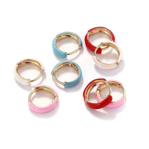Korean style new alloy drip oil earrings NHJQ185866