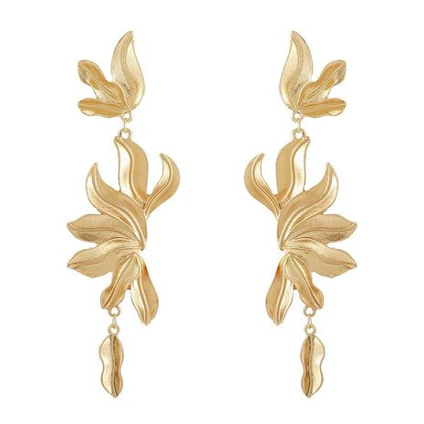 Bohemian Exaggerated Irregular Flower and Leaf Long Earrings NHGY185807's discount tags