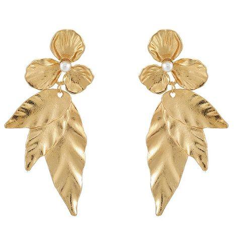 Bohemian Pearl Flower Leaf Long Earrings NHGY185808's discount tags