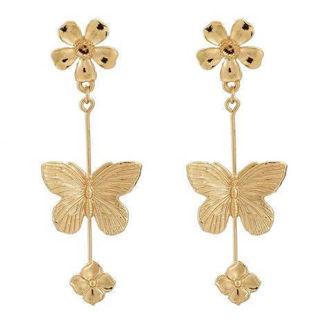 Flower and Butterfly Long Earrings wholesales fashion NHGY185809's discount tags