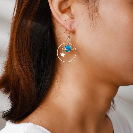 Simple personality earth moon stars earrings NHGY185810's discount tags