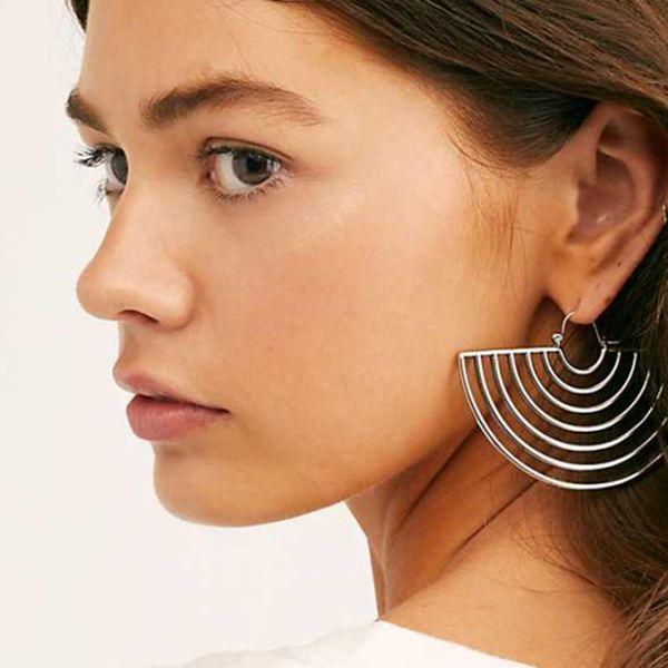 Silver Hollow Semicircle Earrings Vintage Geometric Earrings Wholesale NHGY185811