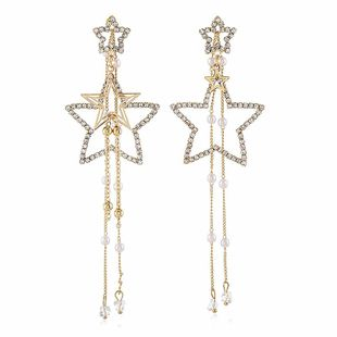 Exaggerated alloy star-shaped diamond earrings NHVA185993's discount tags