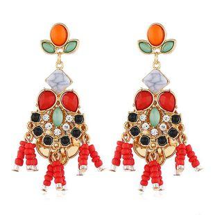 Fashion temperament flower diamond ladies earrings bead flower earrings wholesale NHVA185994's discount tags