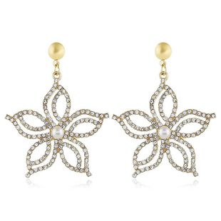 Exaggerated alloy flower stud earrings NHVA186005's discount tags