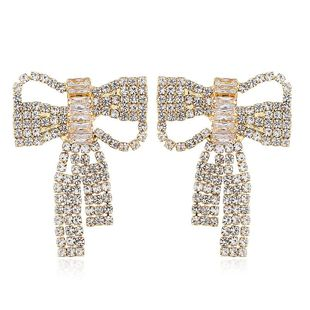 Women's retro style openwork bow and diamond wild earrings for women NHVA186006's discount tags