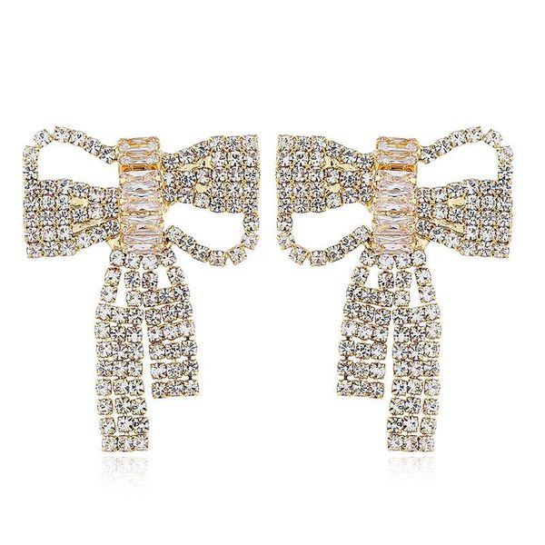 Women's retro style openwork bow and diamond wild earrings for women NHVA186006