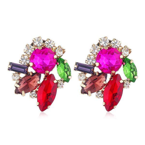 Pendientes de flores de aleación nuevos pendientes de diamantes de imitación NHVA186010