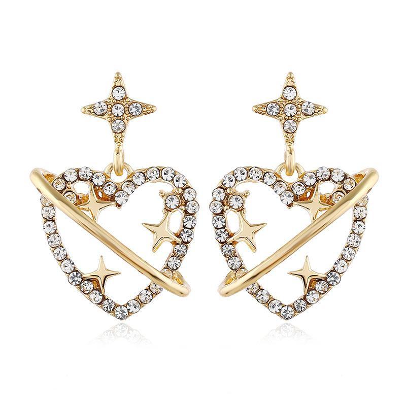 Pendientes de amor de diamantes Pendientes femeninos Pendientes simples coreanos al por mayor NHVA186011