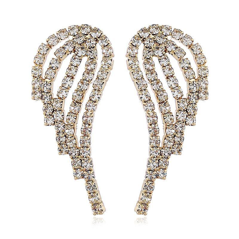 Pendientes de moda coreana con alas de diamantes. NHVA186015