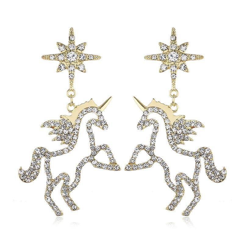 Fashion earrings female simple earrings student diamond unicorn ear jewelry NHVA186013