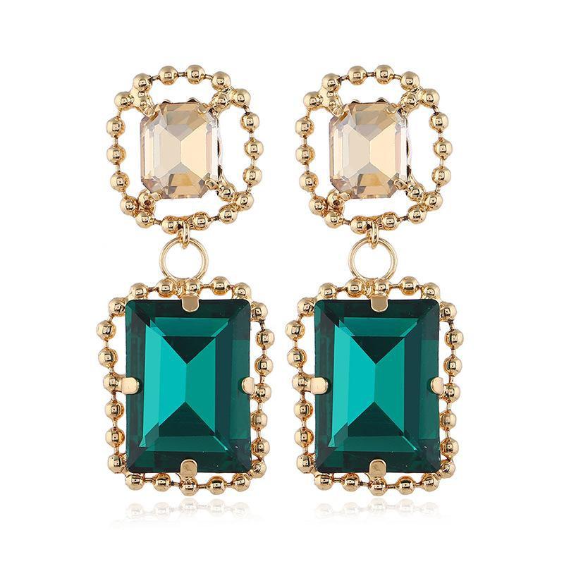 New fashion pop square big gem earrings NHVA186019