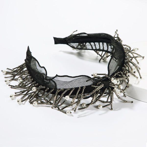 Lace-edge glass rod string pearl hair hoop female high-end headband headdress NHJE185820