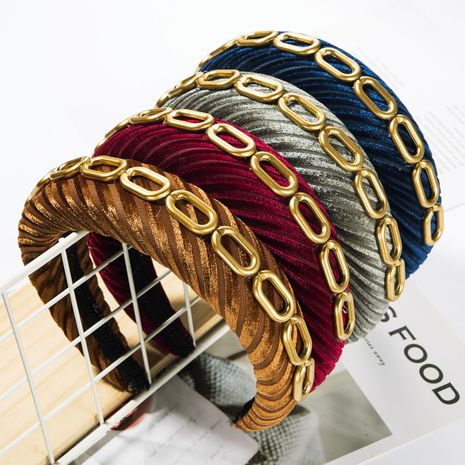Diagonal stripe gold velvet hair hoop female single row alloy bamboo chain wide edge sponge headband NHJE185826's discount tags