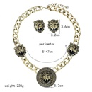 Wholesale fashion alloy lion head necklace set women jewelry NHVA185995
