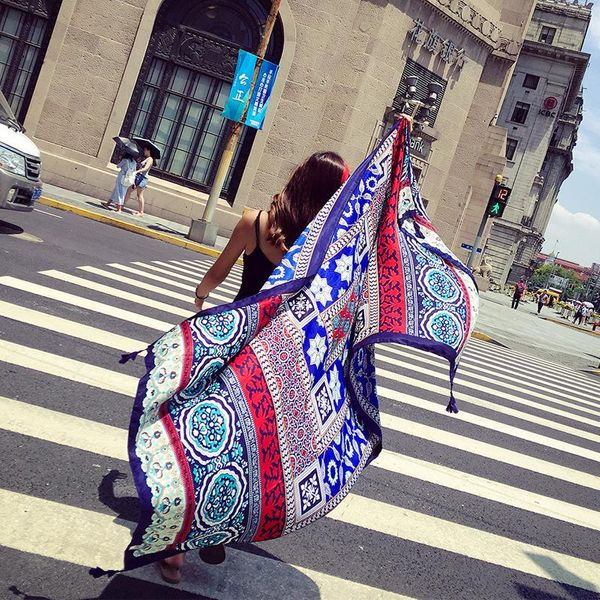 Shawl women travel long silk scarf beach towel ethnic wind and linen sunscreen dual-use ladies scarf NHTZ186255