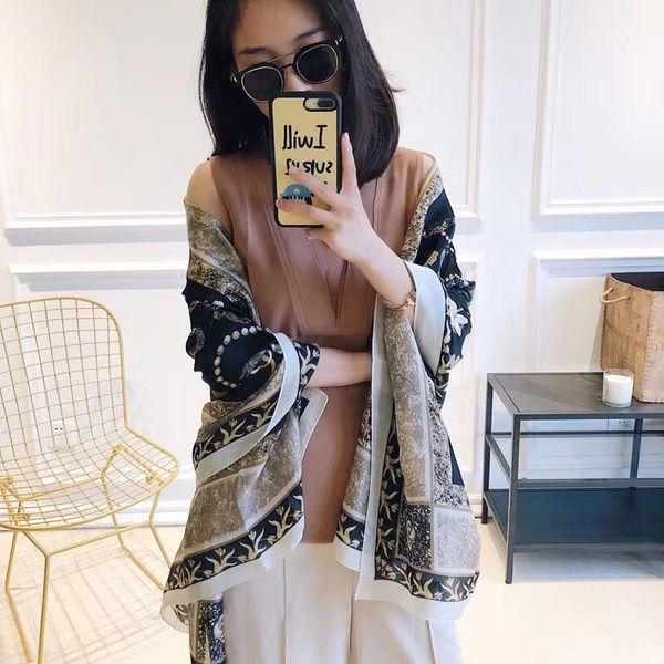 New silk scarf simulation silk chain flower long scarf scarf female air conditioner shawl wholesale NHTZ186264