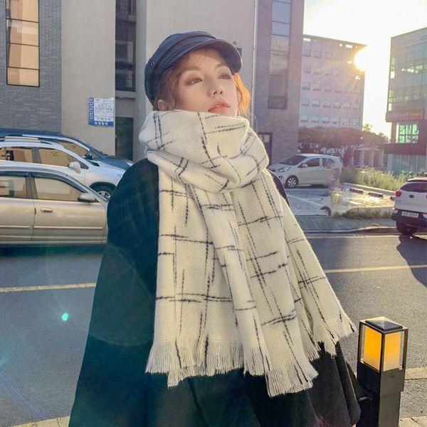 Bufanda de invierno chal de doble uso a cuadros para mujer en invierno alargado bufanda gruesa y cálida NHTZ186265