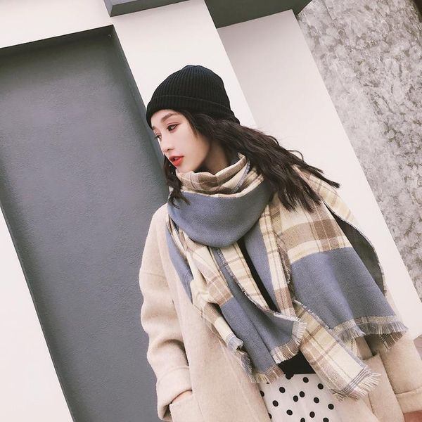 New scarf color-matching Korean version of the large plaid imitation cashmere scarf shawl thickening warm women's collar NHTZ186268