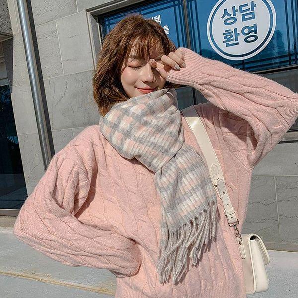 New Check Korean Faux Cashmere Scarf Winter Student Shawl Fringe Warm Long Bib NHTZ186274