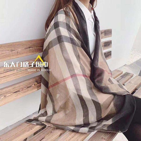 Plaid scarf women's bag winter new gradient cotton linen scarf shawl wholesale NHTZ186275