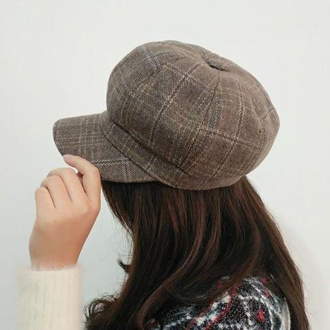 Nueva boina sombrero casual femenino salvaje sombrero a cuadros coreano de lana octogonal NHXO186279's discount tags