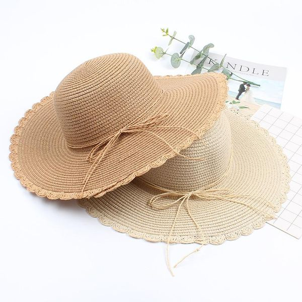 New Foldable Bow Straw Hat Korean Seaside Vacation Leisure Fisherman Hat Big Eaves Sun Hat NHXO186294