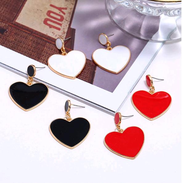 Fashion metal simple peach heart temperament exaggerated earrings NHSC186043