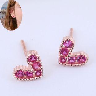 Korean fashion sweet OL small flash diamond love earrings NHSC186344's discount tags