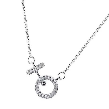 Collar de mujer de moda coreana collar de circonio de oro real al por mayor de cobre fino al por mayor collar simple NHSC186355's discount tags