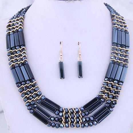 Conjunto de aretes de collar de temperamento de cristal salvaje de metal de moda NHSC186044's discount tags