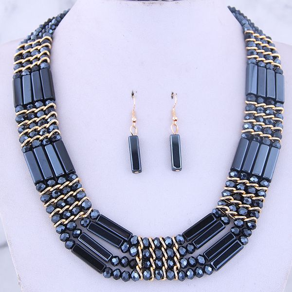 Fashion metal wild crystal temperament short collar necklace earrings set NHSC186044