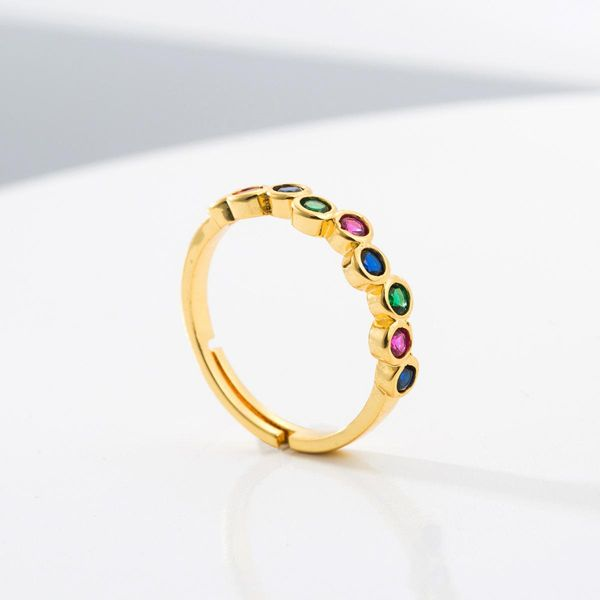 Copper micro-inlaid color zircon ring female 18K gold plated hip hop punk style male ring NHLN186084