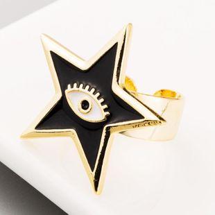Light luxury women ring copper 18K gold drip oil pentagram devil eye female ring jewelry male ring NHLN186085's discount tags