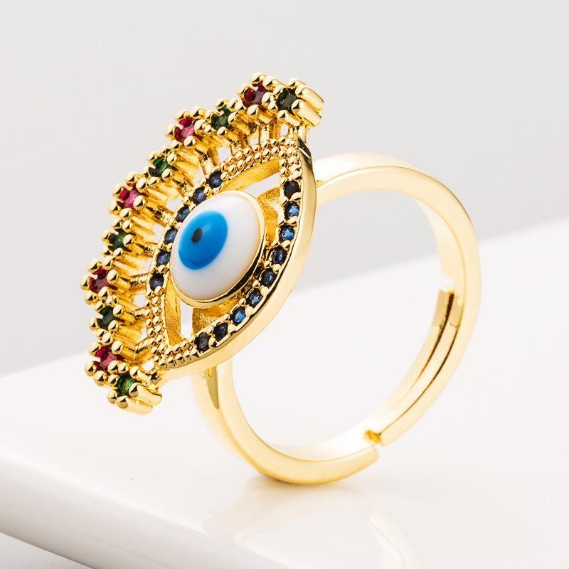 Fashion Zircon Ring Female Copper 18K Gold Micro Inlaid Zircon Color Devil's Eye Open Hip Hop Ring NHLN186087